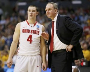Ohio State Buckeyes head coach Matta talks with guard Craft in the second half against the Wichita State Shockers during their West Regional NCAA men's basketball game in Los Angeles